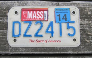 Massachusetts Motorcycle License Plate 2014