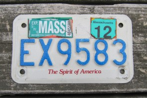 Massachusetts Motorcycle License Plate 2012