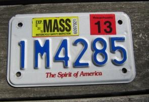 Massachusetts Motorcycle License Plate 2013