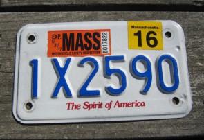 Massachusetts Motorcycle License Plate 2016