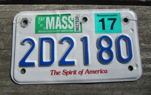 Massachusetts Motorcycle License Plate 2017