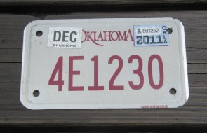Oklahoma Motorcycle License Plate 2011
