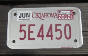Oklahoma Motorcycle License Plate 2012
