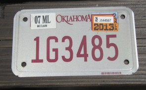 Oklahoma Motorcycle License Plate 2013