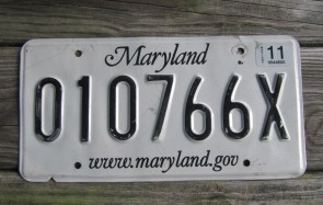 Maryland License Plate 2011