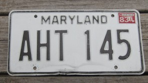Maryland Black White License Plate 1983