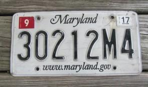 Maryland Website License Plate 2017