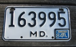 Maryland Motorcycle License Plate White Black 1984