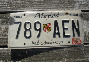 Maryland 350th Anniversary License Plate 1986