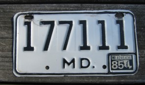 Maryland Motorcycle License Plate White Black 1985