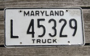 Maryland Black White License Plate 1980's