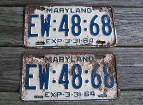 Maryland Blue White License Plate Pair 1964 EW 48 68