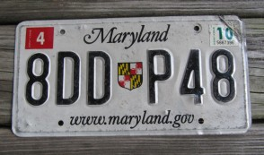 Maryland Shield Website License Plate 2010