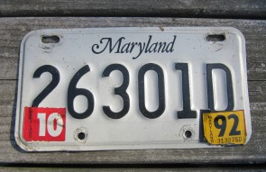 Maryland Motorcycle License Plate 1992
