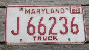 Maryland Red White License Plate 1978