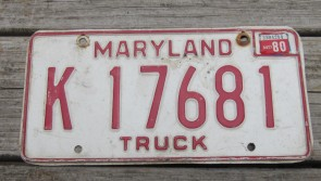 Maryland Red White License Plate 1980