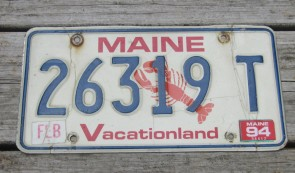 Maine Lobster License Plate 1994