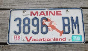 Maine Lobster License Plate 1996