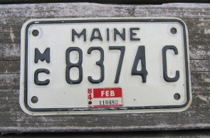 Maine Motorcycle License Plate 1984 Black White