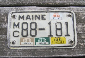 Maine Motorcycle License Plate 1983 Black White