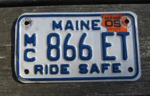 Maine Motorcycle License Plate Ride Safe 2009