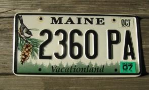 Maine Chickadee License Plate 2007