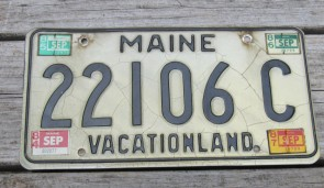 Maine White Black License Plate Vacationland 1987