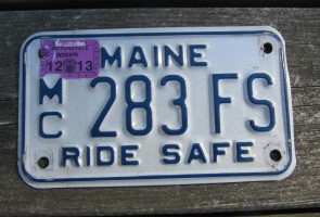Maine Motorcycle License Plate Ride Safe 2013