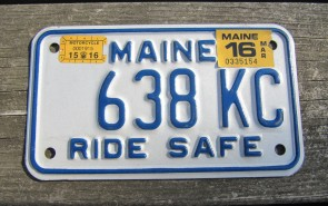 Maine Motorcycle License Plate Ride Safe 2016