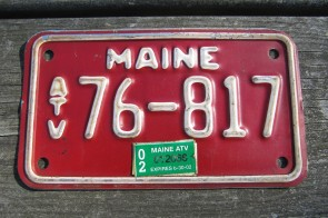 Maine ATV License Plate Motorcycle Sized Red White 2002