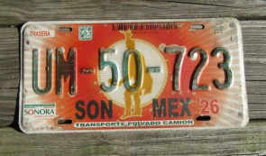 Mexico Red Sun Sonora License Plate
