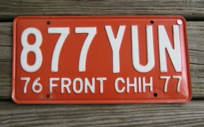 Chihuahua Mexico Orange White License Plate 1977