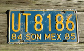 Mexico Yellow Blue Sonora License Plate 1985