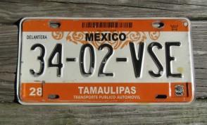 Mexico Tamaulipas Orage White License Plate