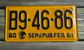 Puebla Mexico Yellow Black License Plate 1960