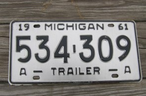 Michigan Trailer License Plate 1961 534 309