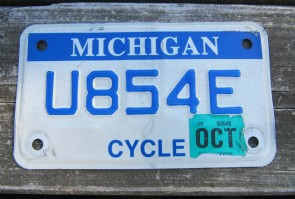Michigan Motorcycle License Plate Blue White 2009