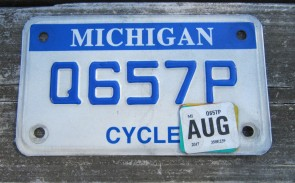 Michigan Motorcycle License Plate Blue White 2017