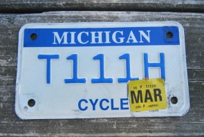 Michigan Motorcycle License Plate Blue White 2018