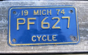 Michigan Motorcycle License Plate 1974 Blue Gold