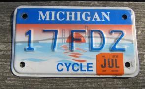 Michigan Motorcycle License Plate Mackinac Bridge 2007
