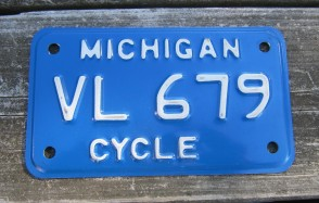 Michigan Motorcycle License Plate 1990's White Blue