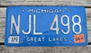 Michigan Blue White License Plate 1999 Great Lakes