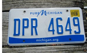 Michigan Motorcycle License Plate Blue White 2019