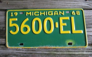 Michigan Green White License Plate 1968 Great Lake State