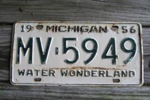 Michigan Winter Wonderland License Plate 1956