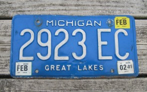 Michigan Blue White License Plate 2005 Great Lakes