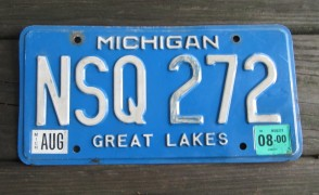 Michigan Blue White License Plate 2000 Great Lakes