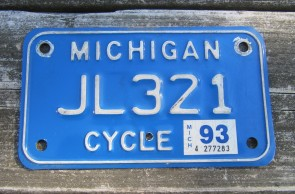 Michigan Motorcycle License Plate White Blue 1993
