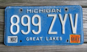 Michigan Blue White License Plate 2007 Great Lakes